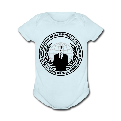 Anonymous Logo - Baby Short Sleeve One Piece - Organic Short Sleeve Baby Bodysuit
