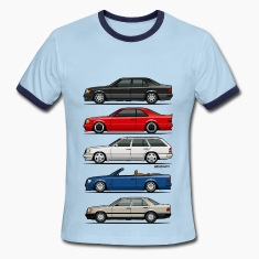 Stack of Mercedes W124 E-Class T-Shirts