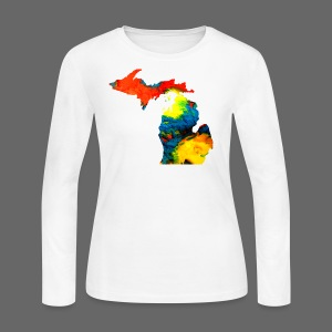 Michigan Super Man Ice Cream State - Women's Long Sleeve Jersey T-Shirt