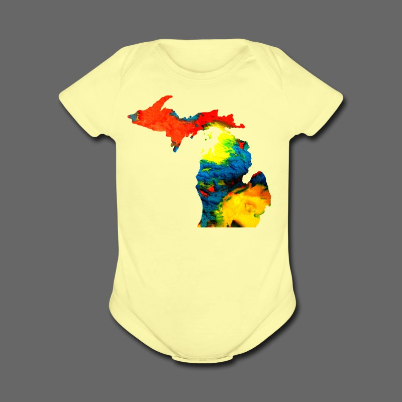 Michigan Super Man Ice Cream State - Short Sleeve Baby Bodysuit