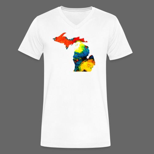 Michigan Super Man Ice Cream State - Men's V-Neck T-Shirt by Canvas