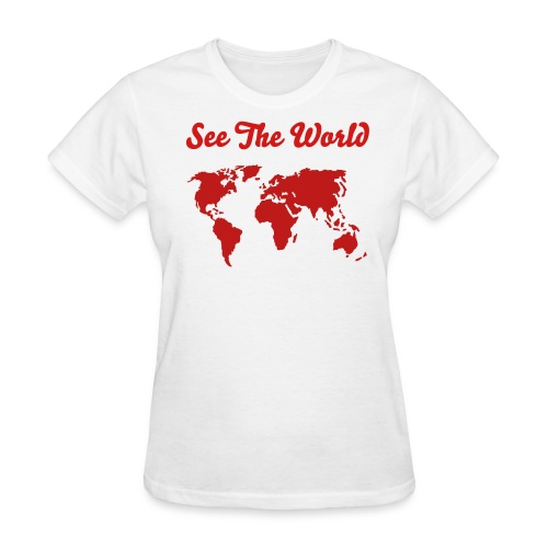 See The World - Women's Tee Glittering Map (All red) - Women's T-Shirt