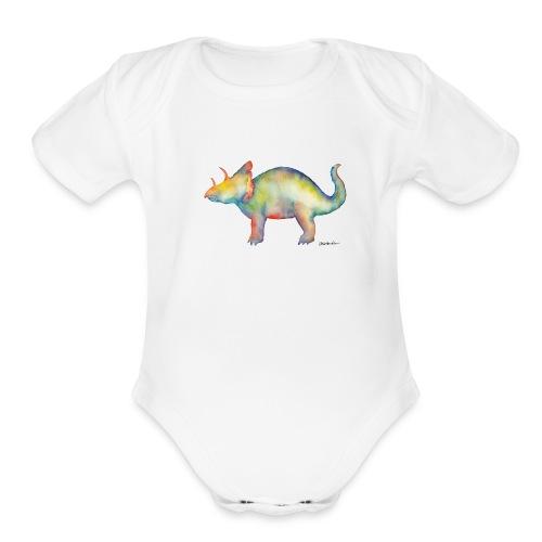 Triceratops Onsie - Organic Short Sleeve Baby Bodysuit