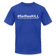 T-Shirts ~ Men's T-Shirt by American Apparel ~ #SelfiesKILL Want to Go Swimming with Some Sharks? Men's Fitted Shirt