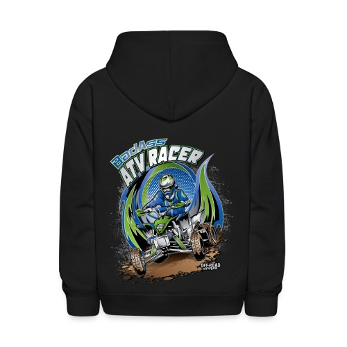 Badass ATV Racer BACK - Kids' Hoodie