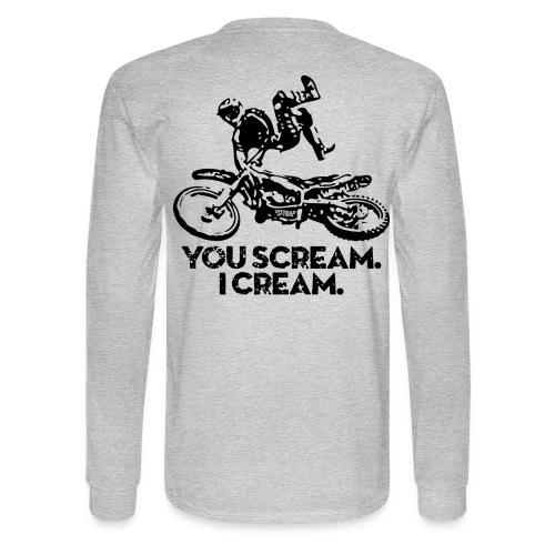 Motocross Scream Cream BACK - Men's Long Sleeve T-Shirt