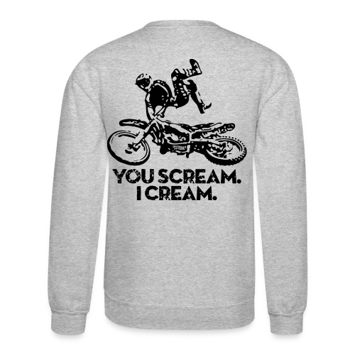 Motocross Scream Cream BACK - Crewneck Sweatshirt