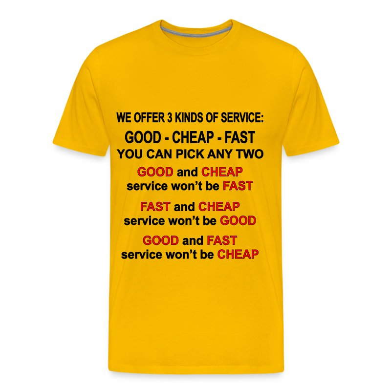 3 Kinds Of Service Good Cheap Fast Pick 2 T Shirt