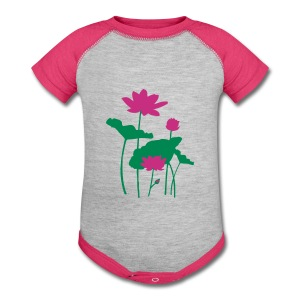 Pink Water lily Baby Contrast One Piece - Baby Contrast One Piece