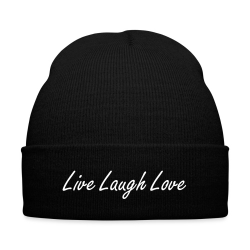 L3 Beanie-WHITE - Knit Cap with Cuff Print