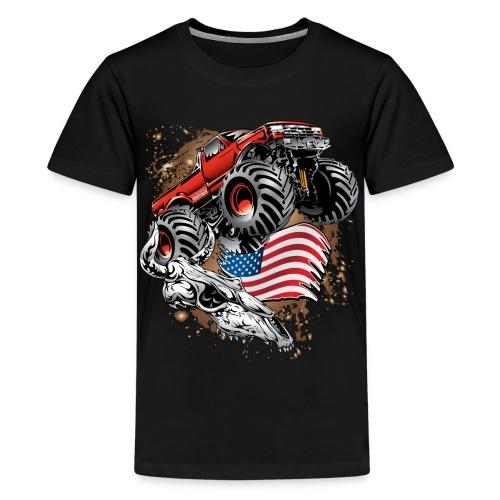Monster Truck USA Skull - Kids' Premium T-Shirt