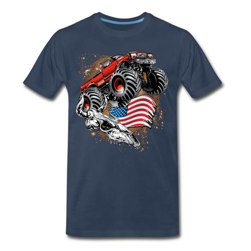 Monster Truck USA Skull - Men's Premium T-Shirt