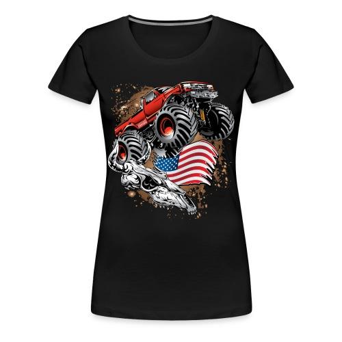 Monster Truck USA Skull - Women's Premium T-Shirt