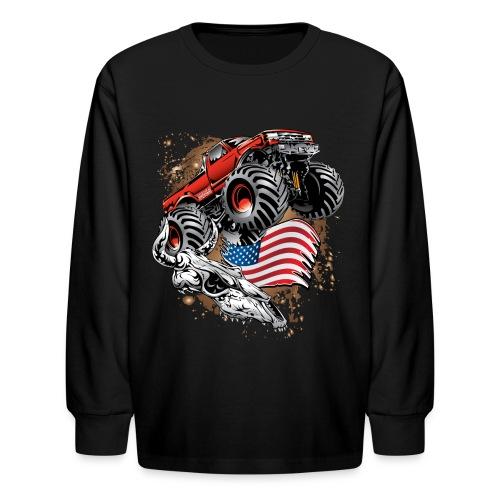 Monster Truck USA Skull - Kids' Long Sleeve T-Shirt