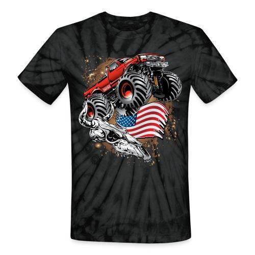 Monster Truck USA Skull - Unisex Tie Dye T-Shirt