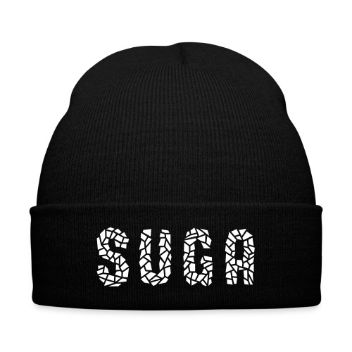 Suga Crystal Font Beanie - Knit Cap with Cuff Print