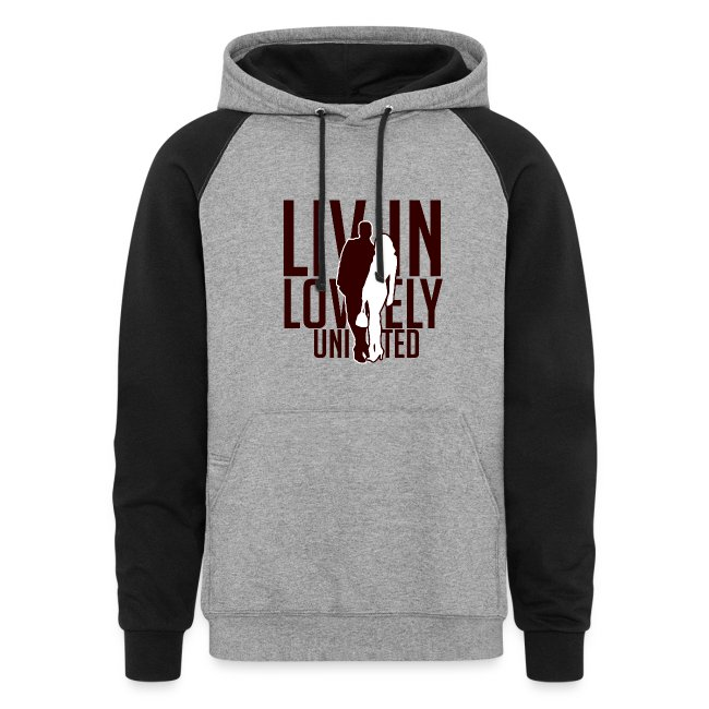 Livin Lovely United Burgundy/Gray Color Block Hoodie
