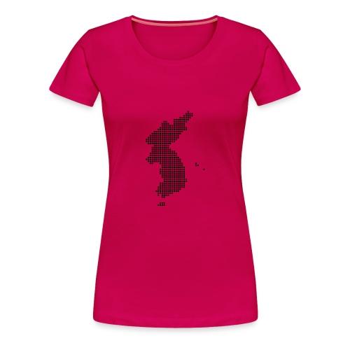 Pixel Korea Map T-Shirt for Women - Women's Premium T-Shirt