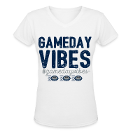 T-Shirts ~ Women's V-Neck T-Shirt ~ Gameday Vibes Blue and Silver