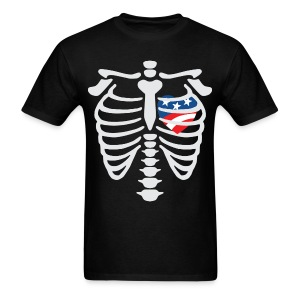 Skeleton shirt with Red White and Blue Heart - Men's T-Shirt