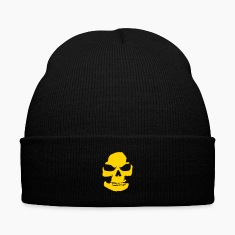 Skeleton Knit Cap with Cuff Print