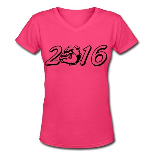 Women's 2016 BullDog V-Neck Shirt - Women's V-Neck T-Shirt