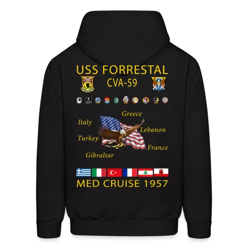 USS FORRESTAL MED 1957 CRUISE HOODIE - Men's Hoodie