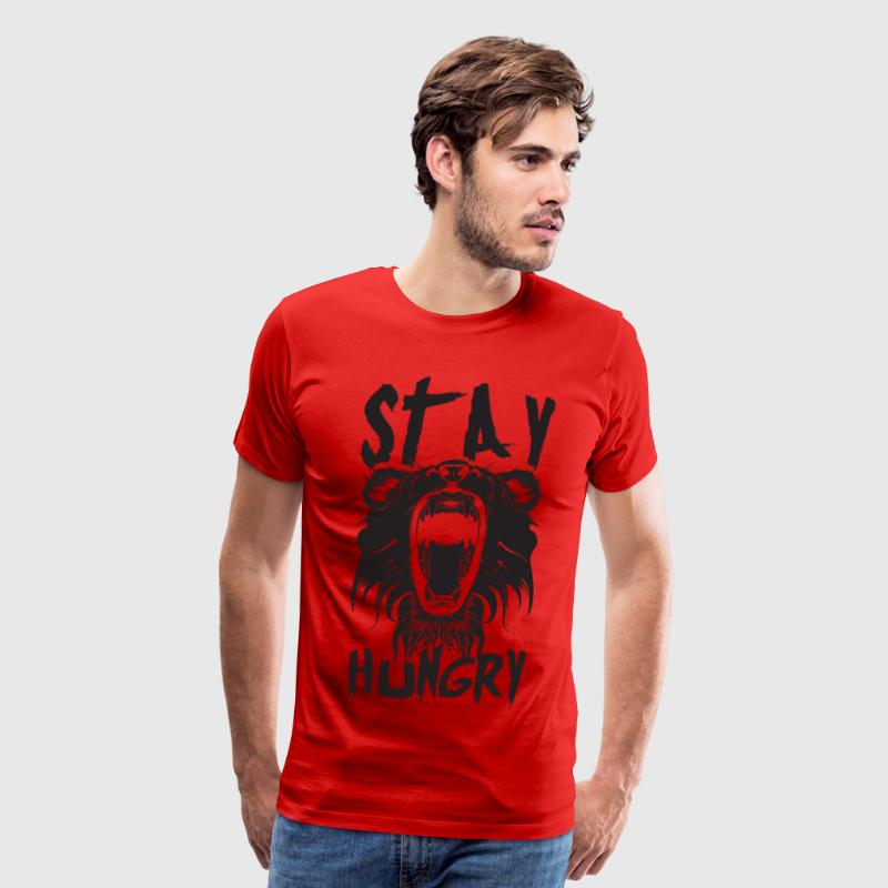 Stay Hungry (Lion) - Gym Motivation T-Shirts - Men's Premium T-Shirt