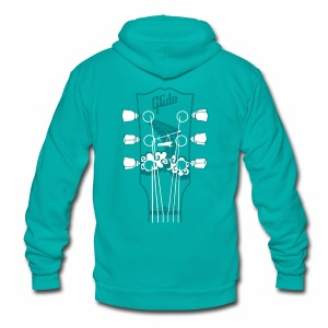 Glide Zip-up Hoodie (teal/white) - Unisex Fleece Zip Hoodie by American Apparel