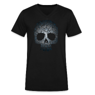 T-Shirts ~ Men's V-Neck T-Shirt by Canvas ~ Floral Skull