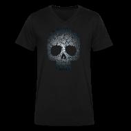 T-Shirts ~ Men's V-Neck T-Shirt by Canvas ~ Floral Skull