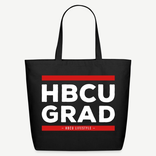 HBCU Grad Old School - Black, Red and Ivory Canvas Tote Bag - Eco-Friendly Cotton Tote