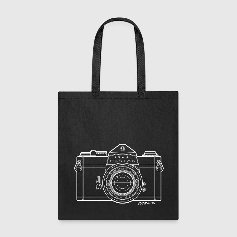 Asahi Pentax 35mm Vintage Camera Line Art (White) Bags & backpacks - Tote Bag