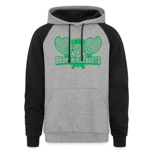 Unisex two tone hoody large logo green - Colorblock Hoodie