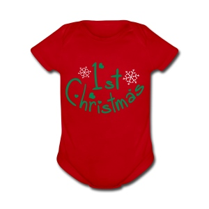 1st Christmas holidays Baby Short Sleeve One Piece - Short Sleeve Baby Bodysuit