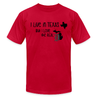 T-Shirts ~ Men's T-Shirt by American Apparel ~ I Live in Texas but I Love the Real D