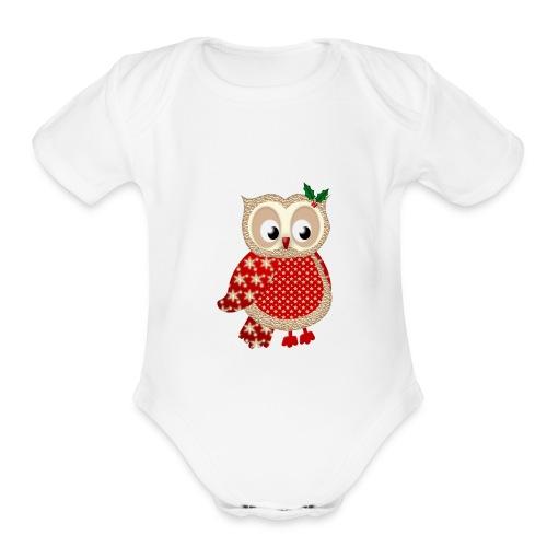 Christmas Owl - Organic Short Sleeve Baby Bodysuit