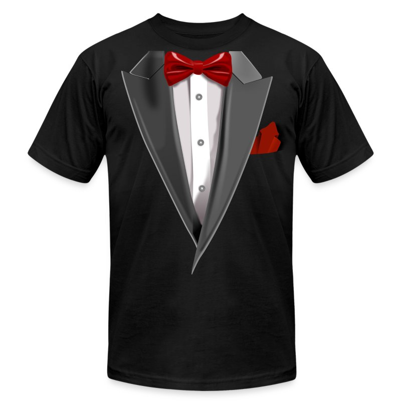 Tuxedo tie designs tux red t shirts t shirt spreadshirt for Make your own tuxedo t shirt