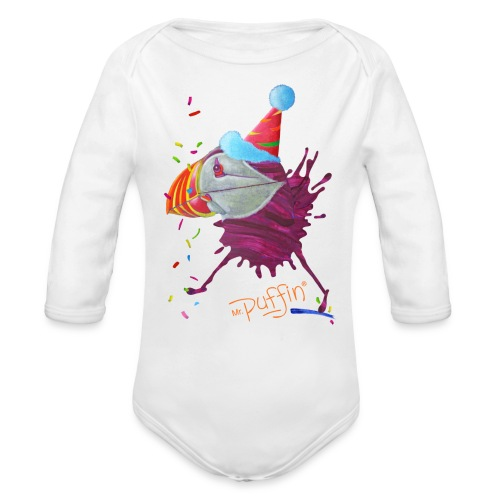 MR. PUFFIN - front print - 6/18 months - multi colors - Organic Long Sleeve Baby Bodysuit