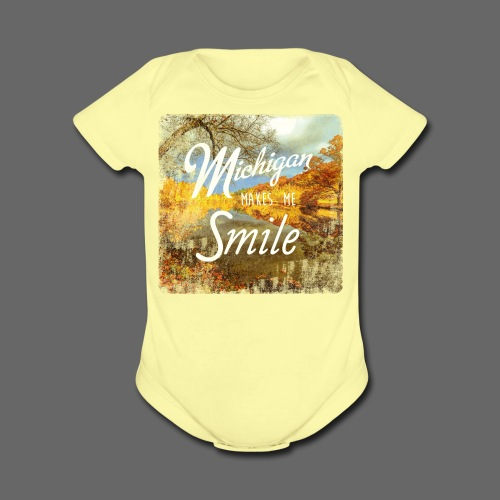 Michigan Makes Me Smile - Short Sleeve Baby Bodysuit