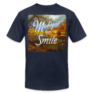 T-Shirts ~ Men's T-Shirt by American Apparel ~ Michigan Makes Me Smile