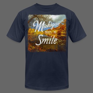 Michigan Makes Me Smile - Men's T-Shirt by American Apparel