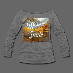 Michigan Makes Me Smile - Women's Wideneck Sweatshirt