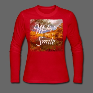 Michigan Makes Me Smile - Women's Long Sleeve Jersey T-Shirt