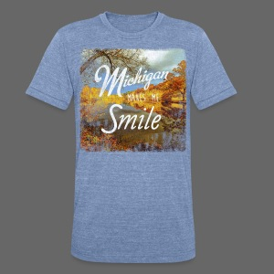Michigan Makes Me Smile - Unisex Tri-Blend T-Shirt by American Apparel