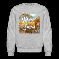 Long Sleeve Shirts ~ Men's Crewneck Sweatshirt ~ Michigan Makes Me Smile