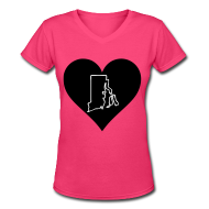 T-Shirts ~ Women's V-Neck T-Shirt ~  Love Rhode Island