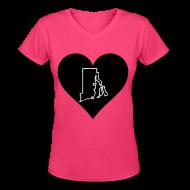 T-Shirts ~ Women's V-Neck T-Shirt ~  Love Rhode Island