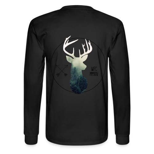 Forest Stag Long Tee - Black - Men's Long Sleeve T-Shirt