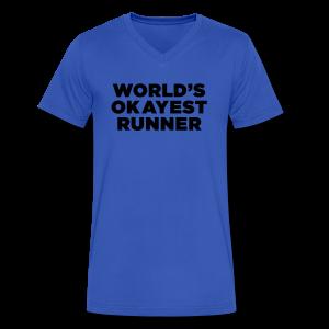 World's Okayest Runner - Men's V-Neck T-Shirt by Canvas